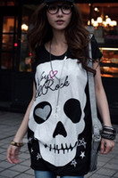 Wholesale Women s Knit T shirt Cotton Love skull Print Black White Color Size M L Hot sale