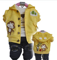 baby clothing monkey - children fall three piece installation boy sweater baby clothes with little monkey