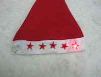 Wholesale 2011 hot LED flashing light christmas hat plush santa cap Non woven