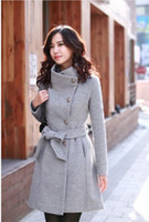 Wholesale Lollipop Turn down Collar Long Sleeve Drape Coat Women Winter Coats with Bow Belt Knee Length YN006