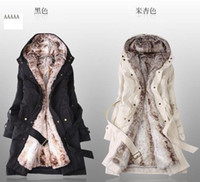 Jackets Women Wool Blend Wholesale Price Faux Fur Lining Women's Fur Coats, Winter Warm Long Coat Jacket Clothes AtB1