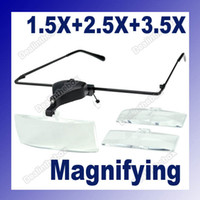 Wholesale Clip On X X X Magnifier Eye Glasses Magnifying Lens Reading with LED Light Black