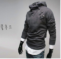 Wholesale Men s jacket new Fur collar Button Fleece Hooded court oblique zipper sweater US Size S M L XL XXL