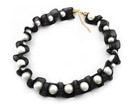 Wholesale Top quality bride gift sweater black pearl elegant necklace chain hot sell lee_w