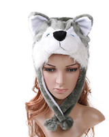 Wholesale MIX ORDER Cartoon Animal Wolf Cute Fluffy Plush Hat Cap