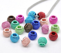 Wholesale 14MM MM Mixed Color Mesh Beads Fit Charm Bracelets Metal Net Ball Beads Jewelry Findings