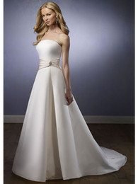 Wholesale Cheap Dress Fast Shipping - Fast shipping cheap strapless satin lace up back belt ivory custom made wedding dress bridal gown