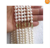 Wholesale PC Akoya AAA mm white pearl necklace quot
