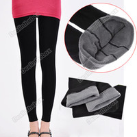 Leggings bamboo fiber - Winter Women Coat Bamboo Carbon Fiber Double Thermal Warm Tights Footless Pants Leggings