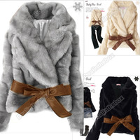 Wholesale Hot Sale Korea Fashion Faux Fur Rabbit Hair Lady Warm Coat Jacket Fluffy Short Outwear Belted