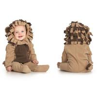 Medium baby onsies - winter thick baby romper costums infant s jumpers lion shape baby onsies