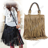 Wholesale Women s Fashion Punk Tassel Fringe Handbag Shoulder Bag Black Apricot