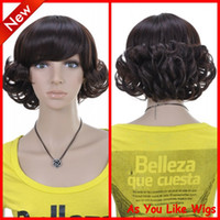 Wholesale New Arrival Short Curly Fashion Kanekalon Women Daily Costume Party Hair Full Wig D042
