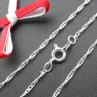 Chains angels beads sale - Hot sale water wave silver tone chain necklace necklace chian x1mm