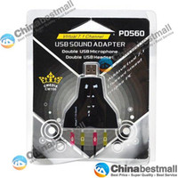 Wholesale Virtual Channel USB Sound Adapter with Double Microphone Port and Double Headset Port