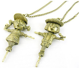 free shipping Jewelry, vintage jewelry lovers baby boy girl boy scarecrow sweater chain necklace