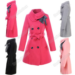 Wholesale High Quality Women s Double breasted Luxury Winter Coat Outerwear Woolen Polyester Colors