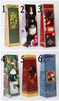 Wholesale 2012 hotsale Christmas wine bag wine gift bag wine bottle bag colors mixed per