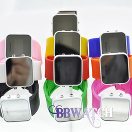 Wholesale 100pcs white frame digital watches dropshipping hardlex window silicone LED light watches by bbwatch