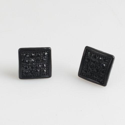 2017 Fashion Blackout Earrings Black Diamond Square Stud Earring For Men