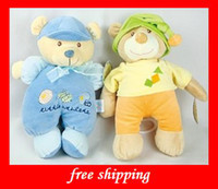 Wholesale Bed hanging blue Bear toys super soft doll Music box plush baby toys hot sales