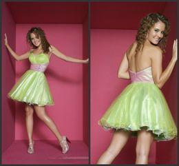 Wholesale Charming Hot Sweetheart Bubble Satin Organza Ruffles Beaded Mini Length Homecoming Party Dresses