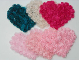 Wholesale Pink Beige Wedding Heart Shape Cheap Chiffon Flower Fabric Craft Sewing Mesh Trim