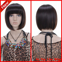 Wholesale New Fashion Short Dark Brown Kanekalon Women Daily Costume Party Hair Full Wig D025