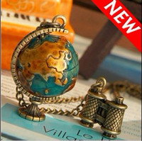 Women's american miniatures - Miniature Telescope And Globe Necklaces For Global Travel Necklace For Xmas