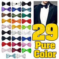 Wholesale 10 Pure Plain Bowtie Polyester Pre Tied Wedding Bow Tie