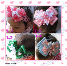 Wholesale layered korker bows mix color Girl corker hair clips without headbands white