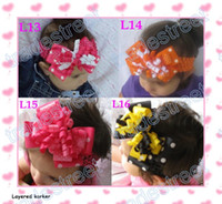 Wholesale layered korker bows mix color Girl corker hair clips without headbands black