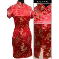 al por mayor ropa de noche de la vendimia-Tarde del satén de seda de las mujeres chinas tradicionales desgaste del mini vestido de Cheong-sam GJDOFGH06