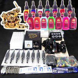 Wholesale Tattoo Kit Pro Machine Gun Power Supply Foot Pedal Needles Grip Tip Colors Ink Cups TK102