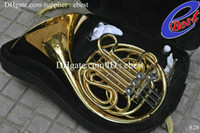 Wholesale 2015 NEW key Double French Horn Gold Lacquer F Bb Brass body with case