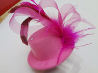 Wholesale 5 Hen Party felt Mini Top Hat Feather Hair Fascinator Lady s Hair Clips