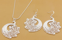Wholesale Christmas European Style Charm Earrings and Necklace Sterling Silver Fashion Jewelry Sets ZY0048