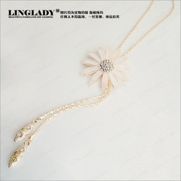 Double hollow pearl long necklace chain sweater Rose