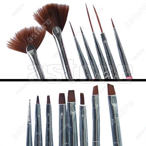 Wholesale 10 Set/lot + Hot pink colors Nail Art Design Gel Polish Brush Painting Pen (15 pcs in a set)