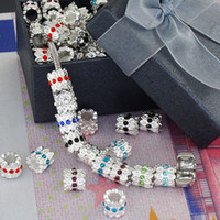 Wholesale DIY mm Silver Plated Mix Color Crystal Inlay European Big Hole Beads Rhinestones Jewelry