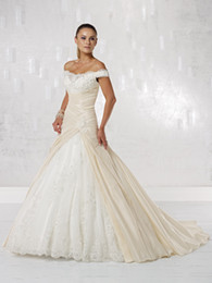 Wholesale 2014 New Ireland Stylish off shoulder beteau neckline crisscross ruched taffeta ball gown bride wedding dress