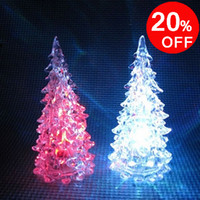 ABS christmas tree ornaments - Color Changing Christmas product ornament Colorful Crystal Tree Mini LED Night Light