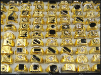 fashion rings - Hot Selling Black Enamel Fashion Men Ring Cheap Price Bulk Mix Design Mixed Size Gold Plated Crystal Rhinestone Rings