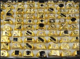 Vente en gros 50pcs / lot noir émail hommes de mode anneau prix bon marché grossistes mélange en vrac mélange de conception or plaqué cristal strass anneaux