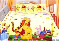 Wholesale 2015 fast shippment Winnie the Pooh New Queen size Bed Quilt Cover Set bed in a bag