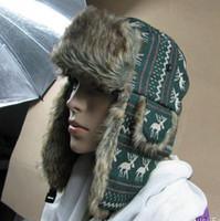 Wholesale Hot Sale Trapper hat Hats Russian hat Knit Winter hat Simulation Fur hat MIX order