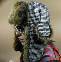 Wholesale Hot Sale Popular Hat Lattice Trapper hat Hats Russian hat Winter hat Simulation Fur hat MIXed