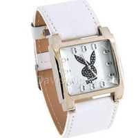 Wholesale playboy Cute rabbit Quartz Wrist Watch Fashion watch Black white