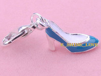 Wholesale Free Express PcsXS P Blue Enamel High heeled Shoes Clip On Charms Fit Link Chain Bracelets tms20