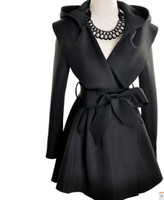 Wholesale 2012 New women clothing cheap women coats black lady trench coats big cap amp belt girl clothes